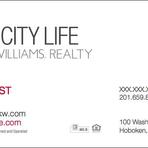 Keller Williams Business Card template Hoboken NJ Office